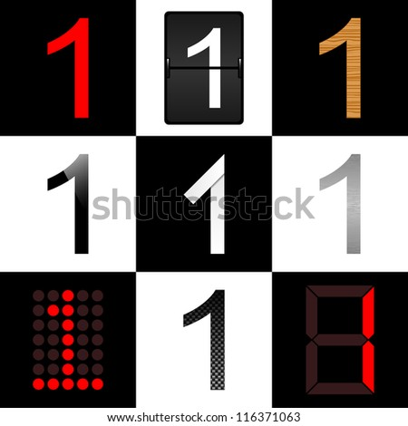 Vector numbers set. Nine different styles: (normal, timetable, wood, piano, origami, aluminum, digital and carbon) - 1