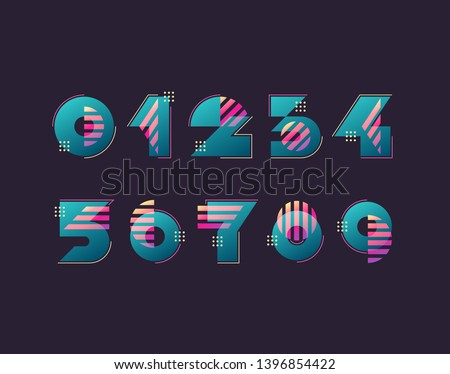 Vector numerals. Set of simple color geometry shapes, figures and numbers.