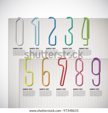 Vector Numeric Shaped Paper Clip - stock vector