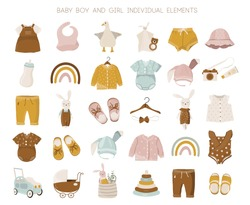 Vector nursery illustration of spring, summer baby girl and boy fashion clothes collection.  Hand-drown objects sketch with jumper, body suit, shoes, toys, rainbow, leaves.