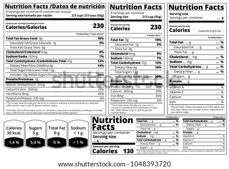 Nutrition facts label vector templates download free vector art vector nutrition facts food table label design template serving size fats and calories list maxwellsz