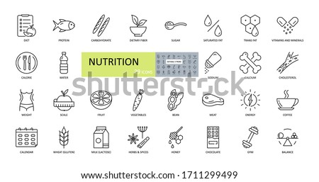 Vector nutrition icons. Editable Stroke. Nutrients in food, diet, weight loss, weighing, balance. Protein, carbohydrate, fiber, trans fat, vitamins sugar sodium calcium cholesterol gluten lactos