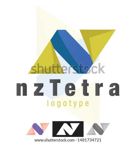 Vector NZ Letters, Geometric and Symmetric Shapes Logo. Professionally designed Icon, shape, sign graphics.