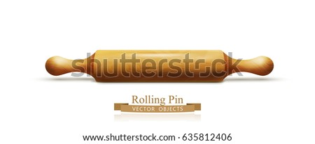 Vector object. Wooden rolling pin isolated on white background