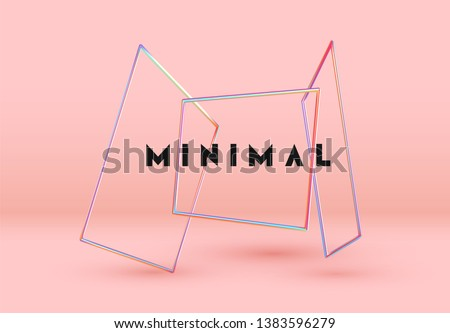 Vector Objects 3d shape. Minimal Abstract background with Gradient blue and pink color elements square frame levitation in space. Poster with realistic geometric volumetric shapes.