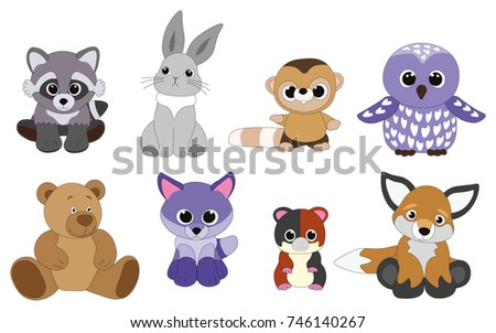 Vector objects with pretty plush toys cartoon animals