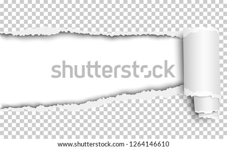 Vector oblong torn hole in transparent sheet of paper with paper curl. White resulting background. Paper mock up.