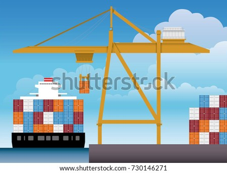 Vector of a big yellow Port Terminal Crane lifting a container box into a big container ship in a day of bright sky.