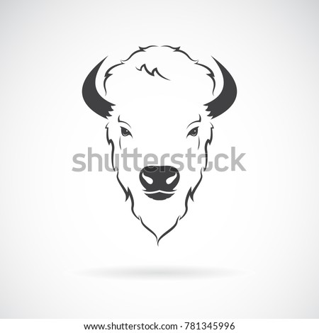 Vector of a buffalo head design on white background. Wild Animals. Vector illustration.