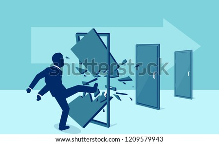 Vector of a business man kicking down and destroying door one by one, eliminating barrier of entries, roadblocks, overcoming challenges,