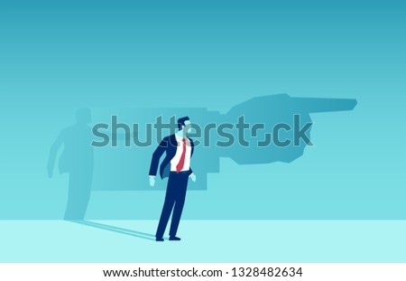 Vector of a business man shadow pointing him a direction