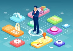 Vector of a businessman in the middle of modern technology business tools, cyber security and personal data protection system icons