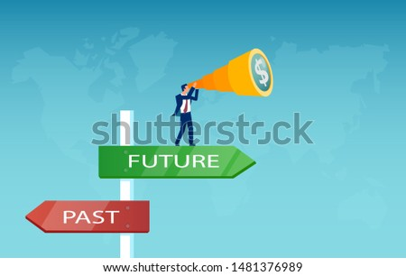 Vector of a businessman searching for financial opportunities in the future