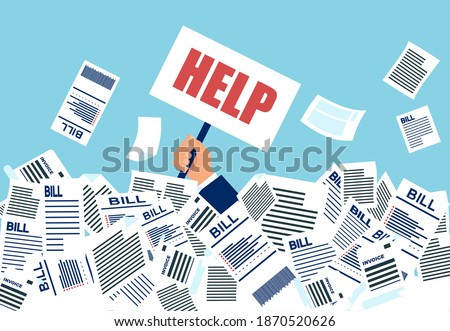 Vector of a businessman under a lot of bills in his office asking for a help. Stock photo ©
