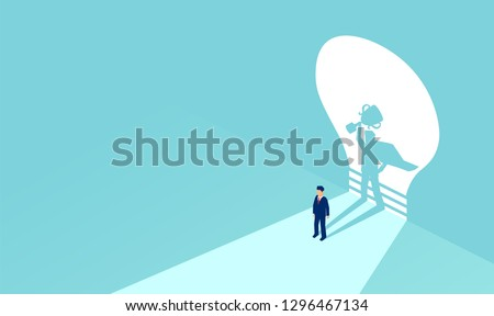 Vector of a businessman with superhero shadow holding a trophy. Symbol of ambition, motivation. leadership and challenge