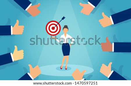Vector of a businessmen giving a thumbs up to a successful business woman achieving her goals