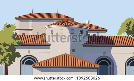 vector of a castle mostly in