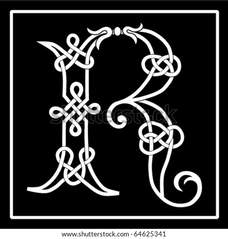 Vector of a Celtic Knot-work Capital Letter R