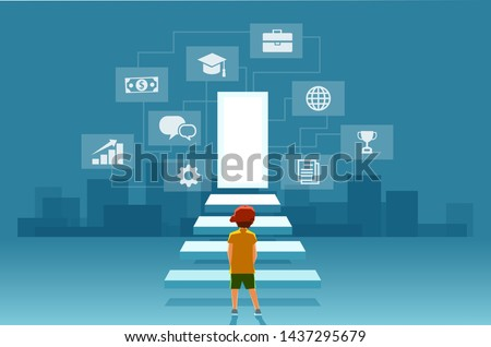Vector of a child, a boy looking at the stairs leading to the door of modern digital world. Concept of self realization, education and career success #1437295679