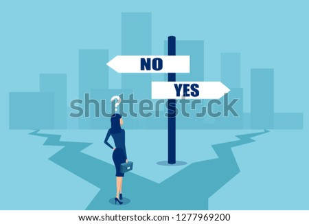 Vector of a confused businesswoman in difficult position making a choice at crossroads. Business decisions concept