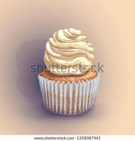 Stock Photo Vector of a crumbly, gentle wet biscuit cupcake with a stunning cream soft air cheese cream, beige color, taste like creme brulee. Light-blue paper cake mold got wet from the juiciness of the cake.