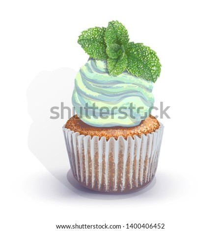 Stock Photo Vector of a crumbly, gentle wet biscuit cupcake with a stunning cream soft air cheese cream, taste and color mint, with juicy fresh sprig of mint. Blue paper got wet from the juiciness of the cake