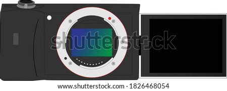 Vector of a Digital camera full frame mirror less camera with a flip out screen 2020