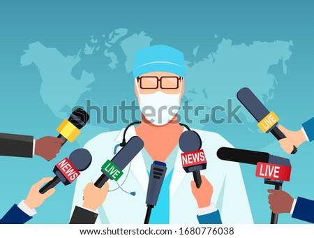Vector of a doctor in mask giving an update on a pandemic to group of journalists