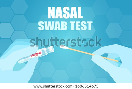 Vector of a doctor performing a nasal swab laboratory test in hospital lab