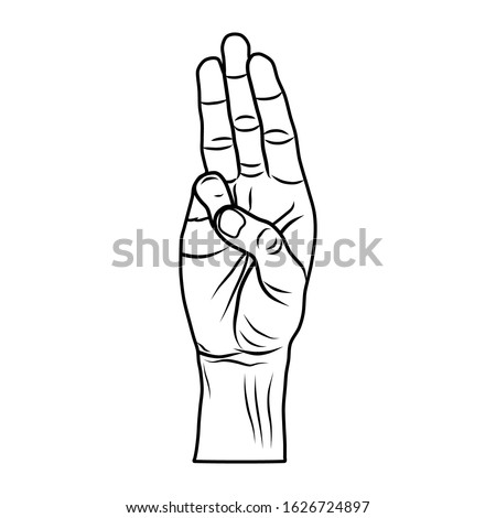 vector of a drawing of hand