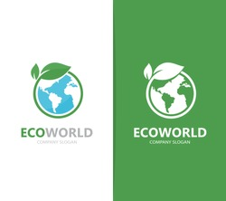Vector of a earth and leaf logo combination. Planet and eco symbol or icon. Unique global and natural, organic logotype design template.