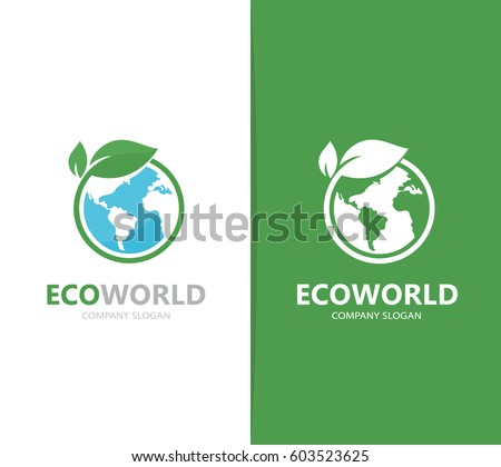 vector of a earth and leaf logo