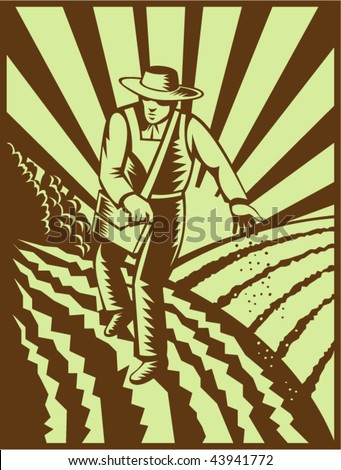 vector of a Farmer sowing seeds with sunburst done in retro woodcut style
