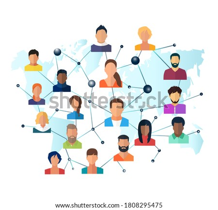 Vector of a global network of interconnected people  Stockfoto ©