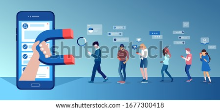 Vector of a group of people using mobile gadgets communicating being attracted by socila media app platform