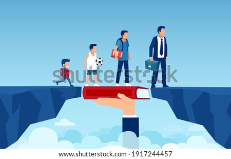 Vector of a growing up man walking on a book bridging the gap to become a successful businessman