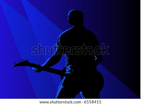 Vector of a guitarist in action