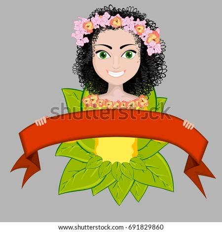 vector of a happy girl in
