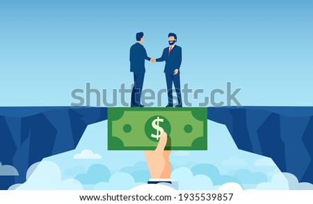Vector of a helping hand with dollar bill bridging economy gap assisting business people to overcome financial difficulties