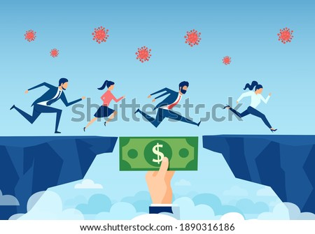 Vector of a helping hand with dollar bill bridging economy gap during coronavirus pandemic, assisting business people to overcome financial difficulties