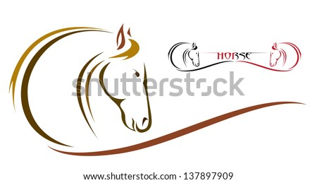 Vector of a horse design on white background. Wild Animals. Easy editable layered vector illustration.