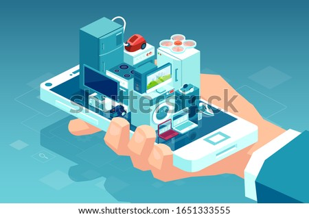Vector of a man holding smartphone with consumer electronics products and home appliances buying online using mobile app for delivery