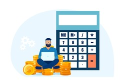 Vector of a man sitting on a pile of cash managing his personal finances working on a laptop computer and using a calculator