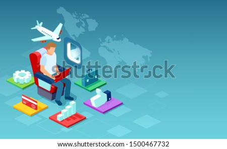 Vector of a man working on laptop computer online using inflight WiFi provided by airline.  ストックフォト ©