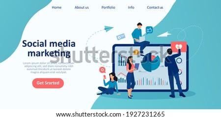 Vector of a marketing team men and women analysing social media website trends  Zdjęcia stock ©