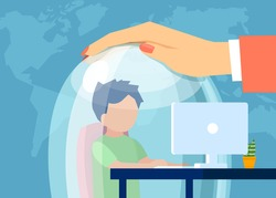 Vector of a mother keeping a child in a glass dome while he is browsing web. Safe internet surfing for kids concept