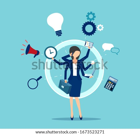 Vector of a multitasking business woman with many hands performing several tasks at the same time.
