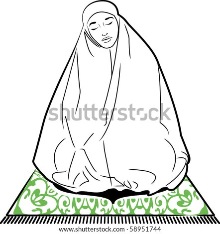 Woman Praying Clipart of a Muslim Woman Praying