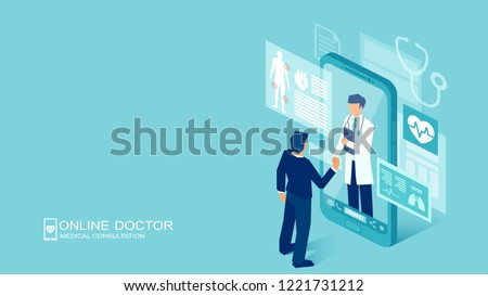 Vector of a patient meeting a doctor online using a smartphone technology, online medical consultation