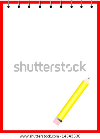Vector of a pencil on a note pad.